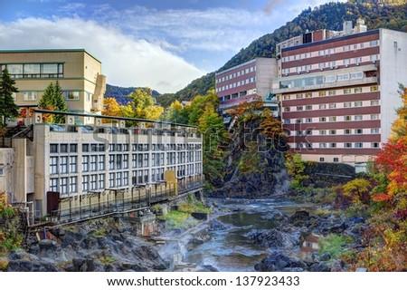 Hot Springs resort town of Jozankei, Hokkaido, Japan. - stock photo