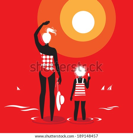 Hot summer day. Mother and Daughter on vacation greeting sun at the beach. Red color background. - stock photo
