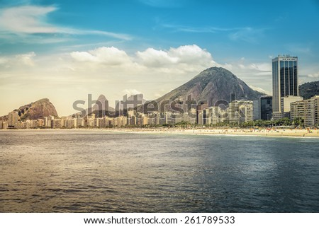 Hot Sunny day on Copacabana Beach in Rio de Janeiro, Brazil - warm colors - stock photo