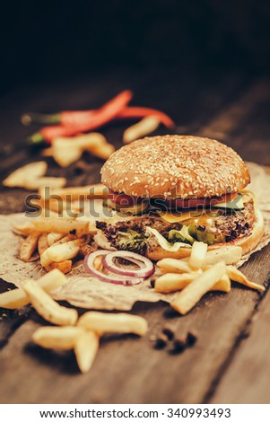 Hot Tasty Burger and Fries on Wooden Table - stock photo