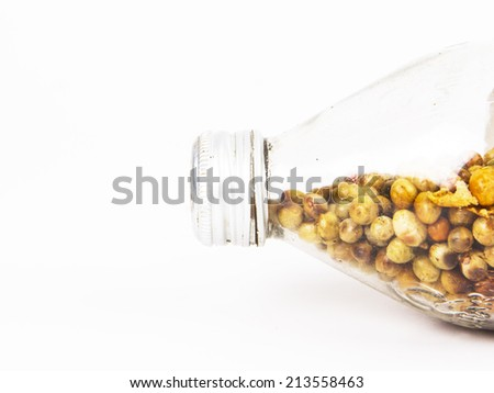 hot tastyvegetable in bottle  on white background - stock photo