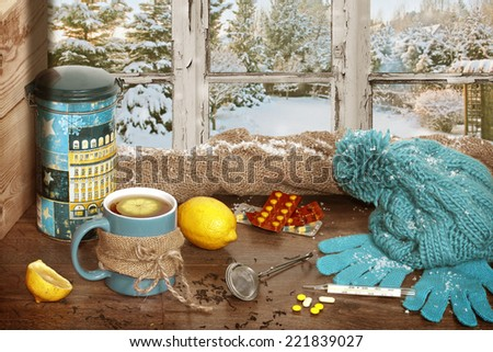 hot tea on a cold winter's day - stock photo
