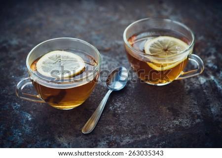 Hot Tea With Lemon - stock photo