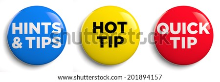 Hot tip and hints and tips icons. Clipping path included. - stock photo