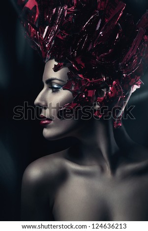 hot woman with red glass hat - stock photo