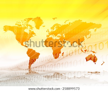 Hot yellow and orange world map illustration in zero and one binary background  - stock photo