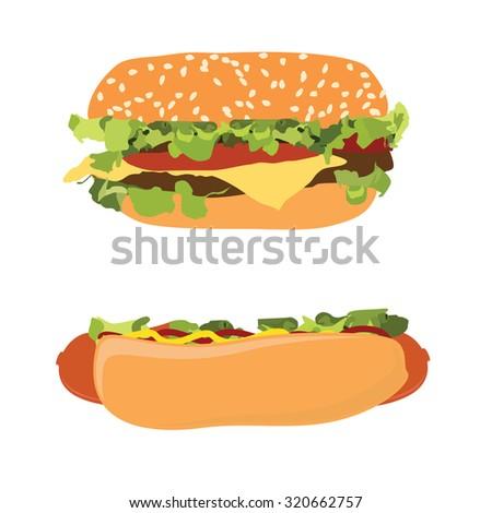 Hotdog and burger raster set, hamburger, cheeseburger, fast food - stock photo