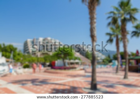 hotel area buildings abstract blur background - stock photo