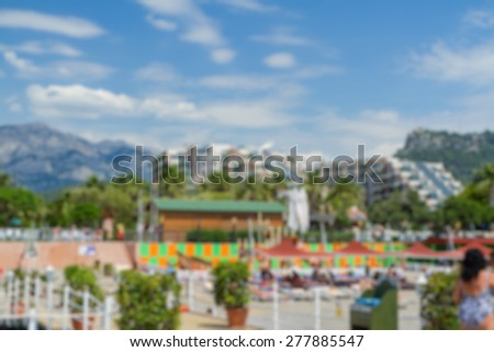 hotel area view with montains abstract blur background - stock photo