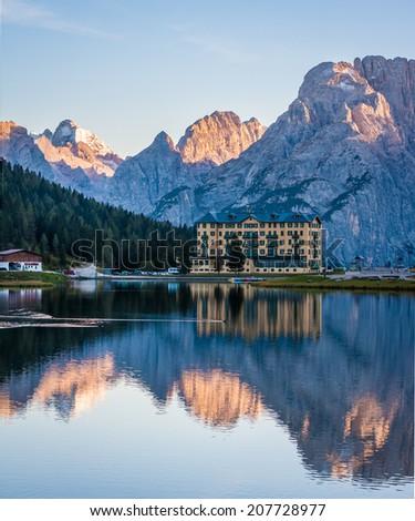 Hotel at Lake of Misurina in Dolomites - stock photo