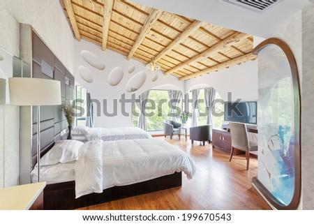 hotel bedroom - stock photo
