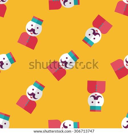 Hotel bellhop flat icon, seamless pattern background - stock photo