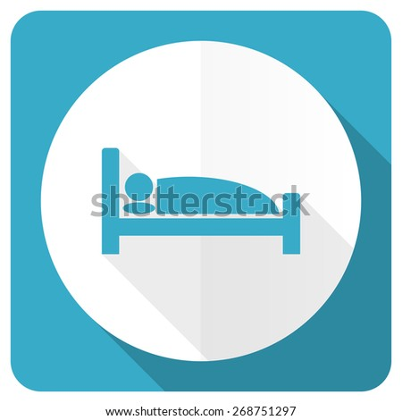 hotel blue flat icon bed sign  - stock photo