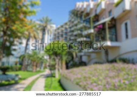 hotel building view abstract blur background - stock photo