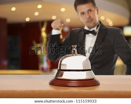 Hotel Concierge.  Service bell at the hotel - stock photo