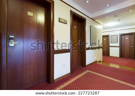 Hotel corridor interior - stock photo