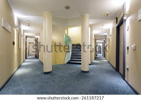 Hotel corridors - stock photo