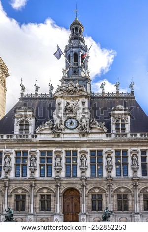 Hotel-de-Ville (City Hall) in Paris - building housing City of Paris's administration. Building was constructed between 1874 -1882, architects Theodore Ballou and Edouard Deperta. France. - stock photo
