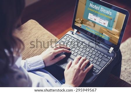 Hotel deals. Woman searching for hotel for vacation. Specifically designed booking template for the screen.. - stock photo