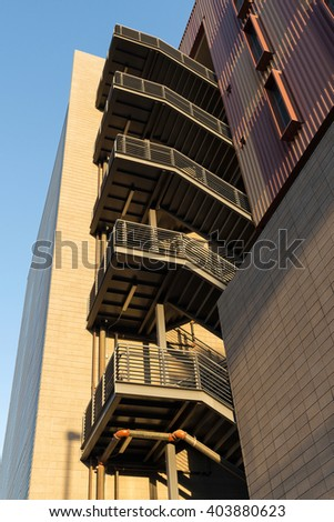 hotel emergency (fire escape) staircase - stock photo