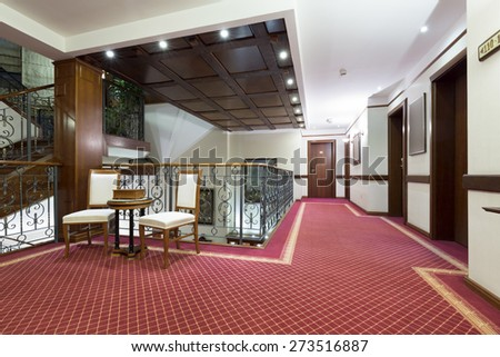 Hotel interior, corridors - stock photo