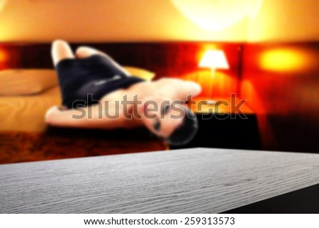 hotel interior of room and black furniture  - stock photo
