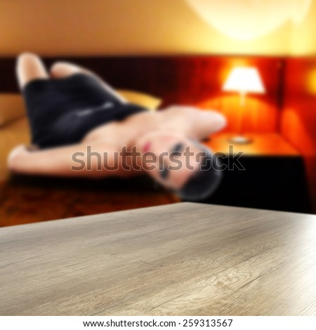 hotel interior of room and table  - stock photo