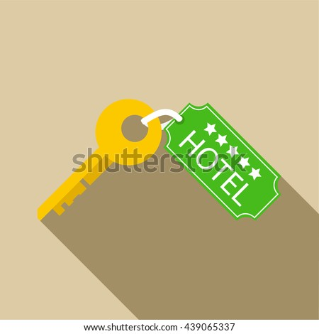 Hotel key icon in flat style - stock photo