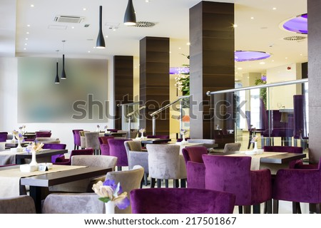 Hotel lobby and cafe interior - stock photo