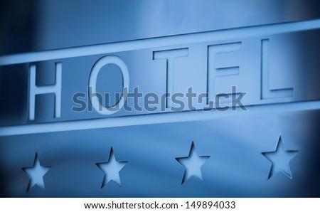 Hotel Metallic Sign - stock photo