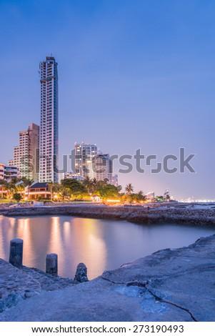 Hotel on beach and Sea Twilight at Pattaya City of Thailand - stock photo