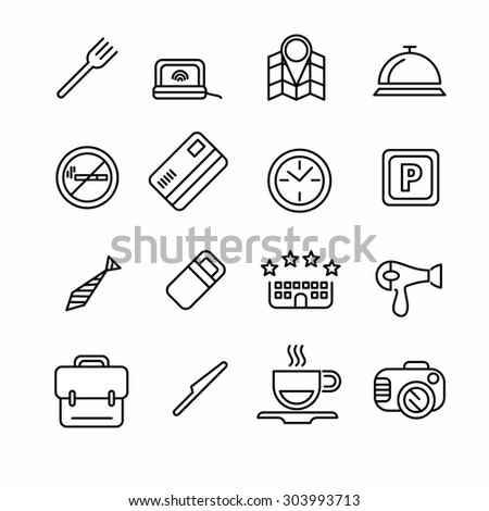 Hotel or apartments and travel icon set. Elements for print, mobile and web applications. - stock photo