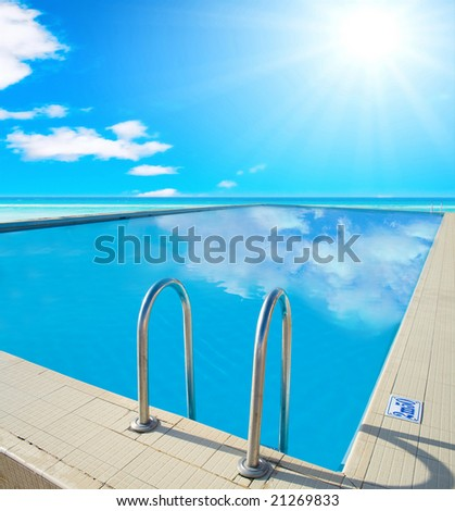 Hotel pool - stock photo