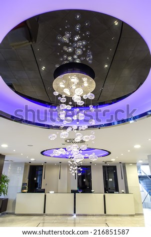 Hotel reception and lobby interior - stock photo