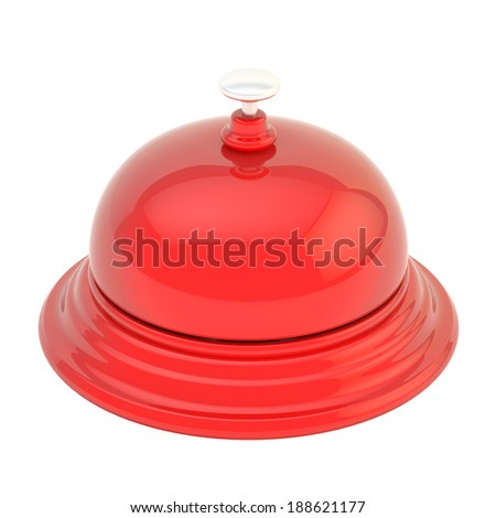 Hotel reception red glossy bell isolated over the white background, view above - stock photo
