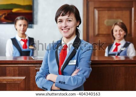 Hotel reception worker - stock photo