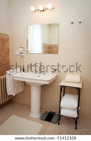 hotel room bathroom - stock photo