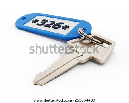 Hotel room key isolated on white background - stock photo
