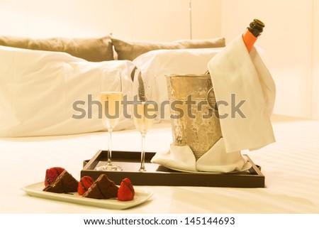 Hotel room shot - Honeymoon concept - stock photo