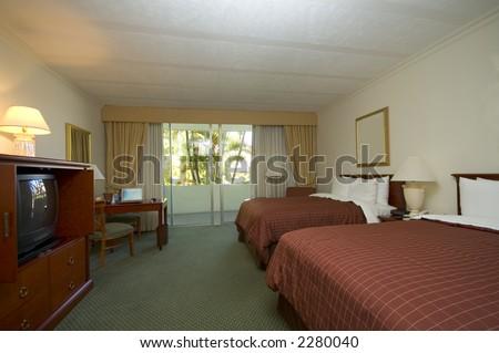 hotel room suite with queen beds office sansalvador el salvador central america - stock photo