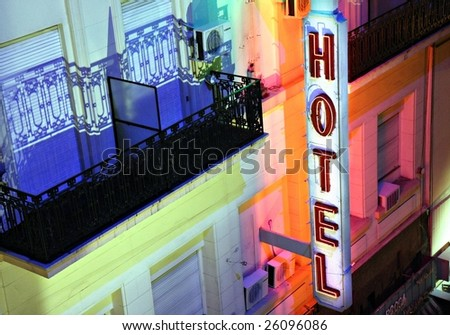 Hotel sign at night in Buenos Aires - stock photo