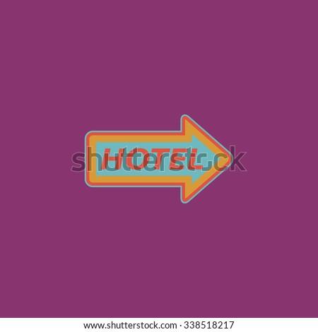 Hotel signboard . Colored simple icon. Flat retro color modern illustration symbol - stock photo