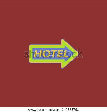 Hotel signboard . Colorful retro flat icon - stock photo