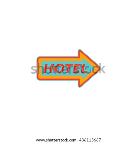 Hotel signboard pictogram. Color simple flat icon on white background - stock photo