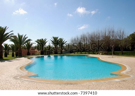 hotel swimming pool - stock photo