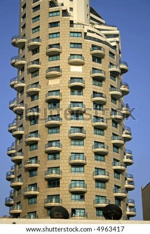 hotel tower in tel aviv, israel - stock photo