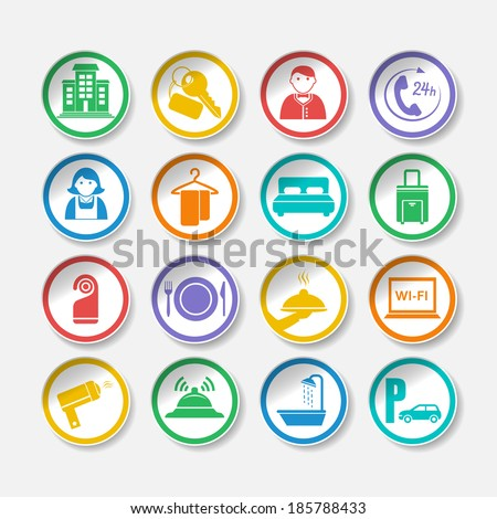 Hotel travel accommodation stickers or labels set isolated  illustration - stock photo