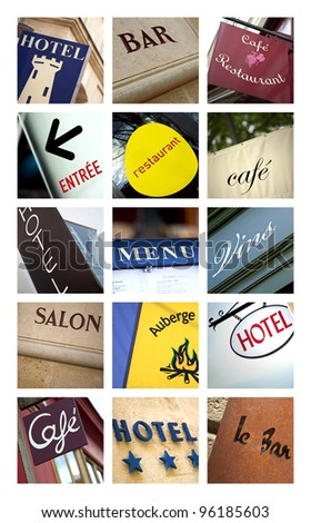 Hotels and restaurants collage - stock photo