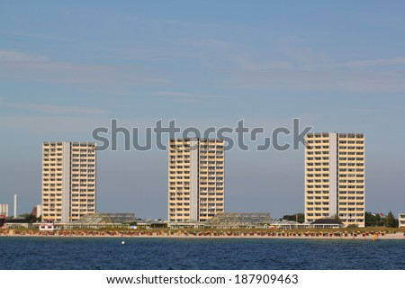Hotels at Fehmarn South beach - stock photo