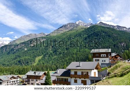 Hotels in Italian Alps in st. Katerina - stock photo